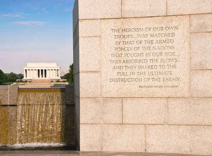 "When walking through the WW II Memorial, I came across this view of Lincoln's Memorial, with the Truman quote on the wall of the WW II Memorial--reminded me of why I work for VA. In Lincoln's words, ""..to care for him who shall have borne the battle."" ~ Jim Moore"